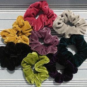 Accessories - eight velvet scrunchies